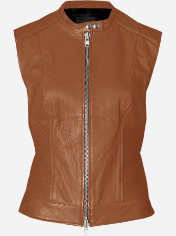 Tan Leather Motorcycle Vest