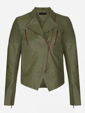 Winter Fashion Women's Green Leather Jacket