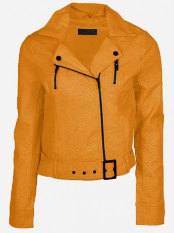 Winter Fashion Moto Women's Yellow Perforated Leather Jacket