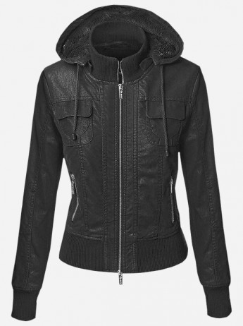 Leather Hooded Jacket for Women