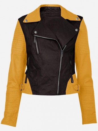 Winter Wear Cool Two Tone Leather Biker Jacket for Women