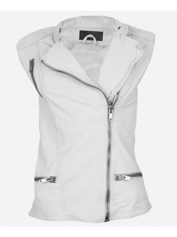 White Leather Motorcycle Vest
