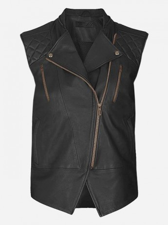 Women Black Fashion Leather Vest