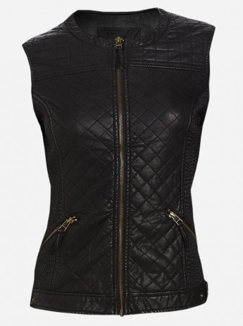 Women Black Quilted Leather Vest