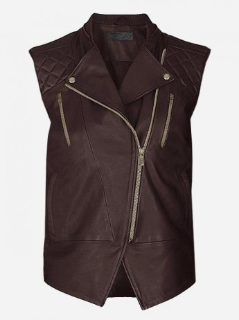 Women Brown Fashion Leather Vest