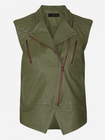 Women Green Fashion Leather Vest