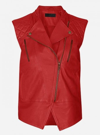 Women Red Fashion Leather Vest